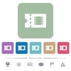 Movie discount coupon flat icons on color rounded square backgrounds - Movie discount coupon white flat icons on color rounded square backgrounds. 6 bonus icons included