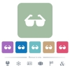 Sunglasses flat icons on color rounded square backgrounds - Sunglasses white flat icons on color rounded square backgrounds. 6 bonus icons included