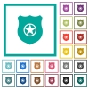 Police badge flat color icons with quadrant frames - Police badge flat color icons with quadrant frames on white background
