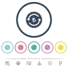 Lira pay back guarantee sticker flat color icons in round outlines - Lira pay back guarantee sticker flat color icons in round outlines. 6 bonus icons included.