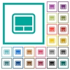 Laptop touchpad flat color icons with quadrant frames - Laptop touchpad flat color icons with quadrant frames on white background