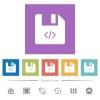Script file flat white icons in square backgrounds - Script file flat white icons in square backgrounds. 6 bonus icons included.