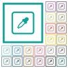 Get object color flat color icons with quadrant frames - Get object color flat color icons with quadrant frames on white background