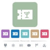 cocktail bar discount coupon flat icons on color rounded square backgrounds - cocktail bar discount coupon white flat icons on color rounded square backgrounds. 6 bonus icons included