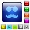 Glasses and mustache color square buttons - Glasses and mustache icons in rounded square color glossy button set
