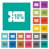 10 percent discount coupon square flat multi colored icons - 10 percent discount coupon multi colored flat icons on plain square backgrounds. Included white and darker icon variations for hover or active effects.