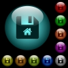 Start file icons in color illuminated spherical glass buttons on black background. Can be used to black or dark templates - Start file icons in color illuminated glass buttons