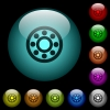 Bearings icons in color illuminated spherical glass buttons on black background. Can be used to black or dark templates - Bearings icons in color illuminated glass buttons