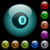 Black eight billiard ball icons in color illuminated spherical glass buttons on black background. Can be used to black or dark templates - Black eight billiard ball icons in color illuminated glass buttons