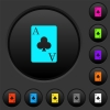 Ace of clubs card dark push buttons with color icons - Ace of clubs card dark push buttons with vivid color icons on dark grey background