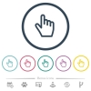 Hand cursor flat color icons in round outlines - Hand cursor flat color icons in round outlines. 6 bonus icons included.
