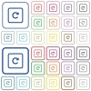Rotate object right outlined flat color icons - Rotate object right color flat icons in rounded square frames. Thin and thick versions included.