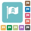 Pirate flag rounded square flat icons - Pirate flag white flat icons on color rounded square backgrounds