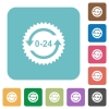 24 hours sticker with arrows rounded square flat icons - 24 hours sticker with arrows white flat icons on color rounded square backgrounds