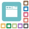 Empty browser window rounded square flat icons - Empty browser window white flat icons on color rounded square backgrounds