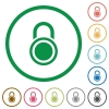 Locked round padlock flat icons with outlines - Locked round padlock flat color icons in round outlines on white background