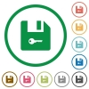 Encrypt file flat icons with outlines - Encrypt file flat color icons in round outlines on white background