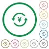 Yen pay back flat icons with outlines - Yen pay back flat color icons in round outlines on white background