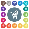 Checkout with Euro cart flat white icons on round color backgrounds - Checkout with Euro cart flat white icons on round color backgrounds. 17 background color variations are included.