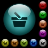 Shopping basket icons in color illuminated glass buttons - Shopping basket icons in color illuminated spherical glass buttons on black background. Can be used to black or dark templates