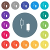 Two candlesticks flat white icons on round color backgrounds - Two candlesticks flat white icons on round color backgrounds. 17 background color variations are included.