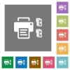 Printer and ink cartridges square flat icons - Printer and ink cartridges flat icons on simple color square backgrounds