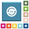 24 hours sticker with arrows white icons on edged square buttons - 24 hours sticker with arrows white icons on edged square buttons in various trendy colors