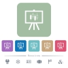 Presentation table with candlestick chart flat icons on color rounded square backgrounds - Presentation table with candlestick chart white flat icons on color rounded square backgrounds. 6 bonus icons included