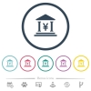 Yen bank office flat color icons in round outlines. 6 bonus icons included. - Yen bank office flat color icons in round outlines