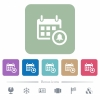 Calendar alarm flat icons on color rounded square backgrounds - Calendar alarm white flat icons on color rounded square backgrounds. 6 bonus icons included