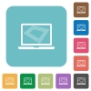 Screen saver on laptop rounded square flat icons - Screen saver on laptop white flat icons on color rounded square backgrounds