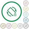 Mobile screen rotation locked flat icons with outlines - Mobile screen rotation locked flat color icons in round outlines on white background