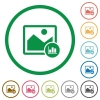 Image histogram flat color icons in round outlines on white background - Image histogram flat icons with outlines