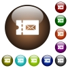 Postal discount coupon color glass buttons - Postal discount coupon white icons on round color glass buttons