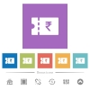 Indian Rupee discount coupon flat white icons in square backgrounds - Indian Rupee discount coupon flat white icons in square backgrounds. 6 bonus icons included.