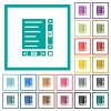 Document with content and scroll bars flat color icons with quadrant frames - Document with content and scroll bars flat color icons with quadrant frames on white background