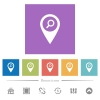 Find GPS map location flat white icons in square backgrounds - Find GPS map location flat white icons in square backgrounds. 6 bonus icons included.