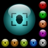 Camera selfie mode icons in color illuminated glass buttons - Camera selfie mode icons in color illuminated spherical glass buttons on black background. Can be used to black or dark templates