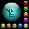 Signing Pound cheque icons in color illuminated glass buttons - Signing Pound cheque icons in color illuminated spherical glass buttons on black background. Can be used to black or dark templates