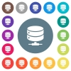 Network database flat white icons on round color backgrounds - Network database flat white icons on round color backgrounds. 17 background color variations are included.