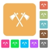 Two tomahawks rounded square flat icons - Two tomahawks flat icons on rounded square vivid color backgrounds.