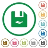 Share file flat icons with outlines - Share file flat color icons in round outlines on white background