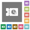 Music store discount coupon square flat icons - Music store discount coupon flat icons on simple color square backgrounds