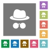 Incognito with glasses square flat icons - Incognito with glasses flat icons on simple color square backgrounds
