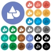 Basic geometric shapes round flat multi colored icons - Basic geometric shapes multi colored flat icons on round backgrounds. Included white, light and dark icon variations for hover and active status effects, and bonus shades.
