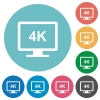 4K display flat white icons on round color backgrounds - 4K display flat round icons