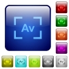 Camera aperture value mode color square buttons - Camera aperture value mode icons in rounded square color glossy button set