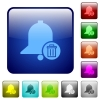 Delete reminder color square buttons - Delete reminder icons in rounded square color glossy button set