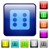 Dice six color square buttons - Dice six icons in rounded square color glossy button set