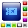 Air travel discount coupon color square buttons - Air travel discount coupon icons in rounded square color glossy button set